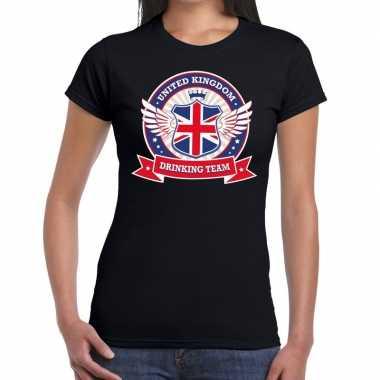 Engeland drinking team t-shirt zwart dames