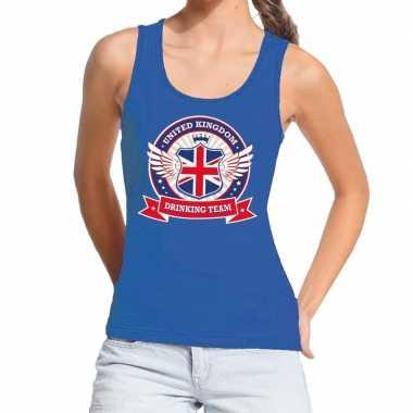 Engeland drinking team tanktop / mouwloos shirt blauw dames