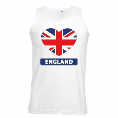 Engeland hart vlag mouwloos shirt wit heren