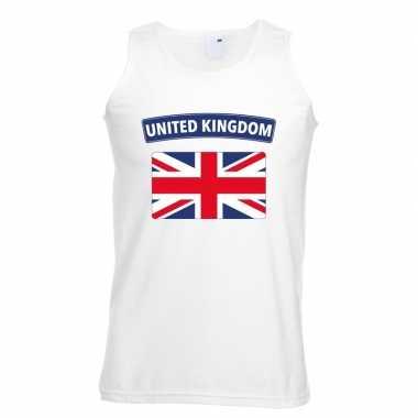 Engeland vlag mouwloos shirt wit heren