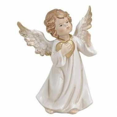 Engelen beeldje met gouden hart 9 cm