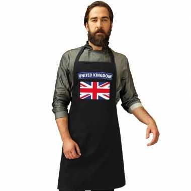 Engelse vlag keukenschort/ barbecueschort zwart heren en dames