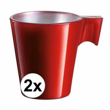 Espresso mokje rood 2 stuks