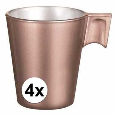 Espresso mokje rose goud 4 stuks