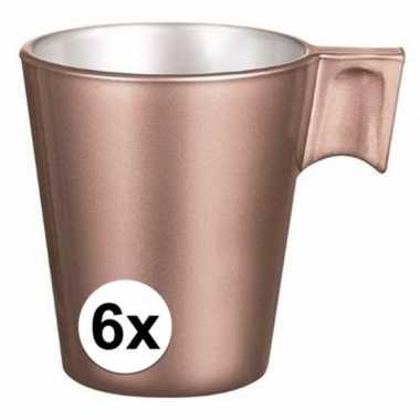 Espresso mokje rose goud 6 stuks