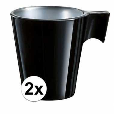 Espresso mokje zwart 2 stuks
