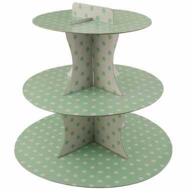 Etagere groen 3 laags met witte stippen 30 cm