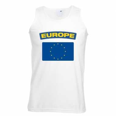 Europa vlag mouwloos shirt wit heren