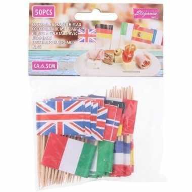 Europese vlaggetjes cocktail prikkers 50 stuks