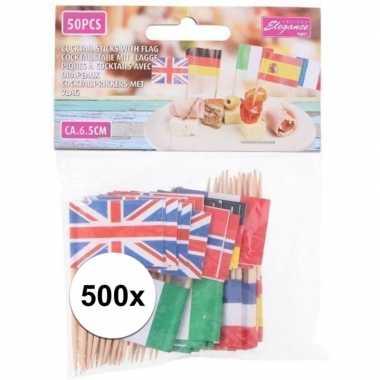 Europese vlaggetjes cocktail prikkers 500 stuks