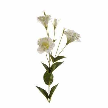 Eustoma kunst tak 85 cm wit/groen