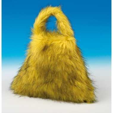Extra grote gele handtas van pluche