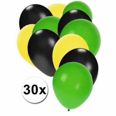 Fan ballonnen geel/zwart/groen 30 stuks