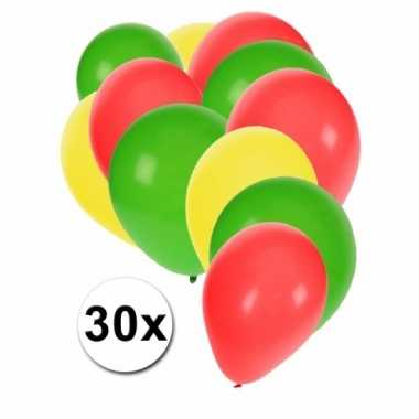 Fan ballonnen groen/geel/rood 30 stuks