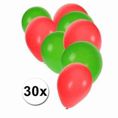 Fan ballonnen groen/rood 30 stuks