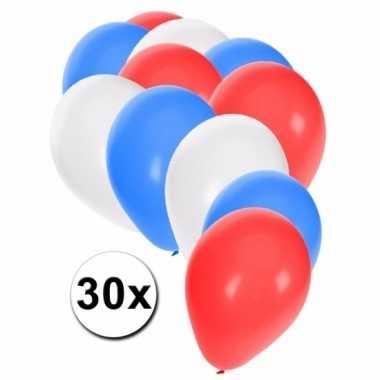 Fan ballonnen rood/wit/blauw 30 stuks