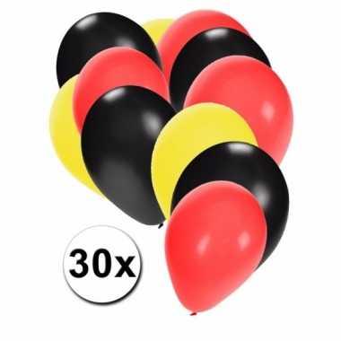 Fan ballonnen zwart/geel/rood 30 stuks