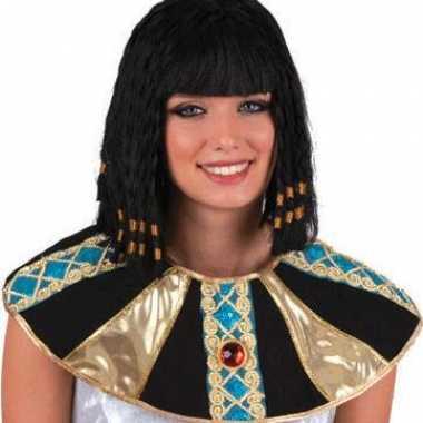 Farao damespruik cleopatra zwart