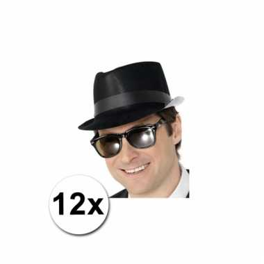 Fedora hoedjes zwart 12x