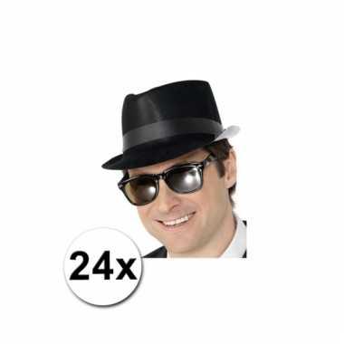 Fedora hoedjes zwart 24x