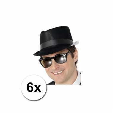 Fedora hoedjes zwart 6x