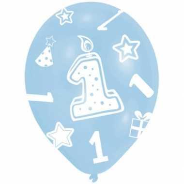 Feest ballonnen blauw 1 jaar 6 stuks