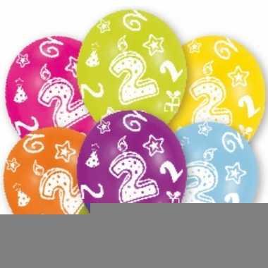 Feest ballonnen kleuren 2 jaar verjaardag 6 stuks