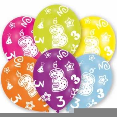 Feest ballonnen kleuren 3 jaar verjaardag 6 stuks