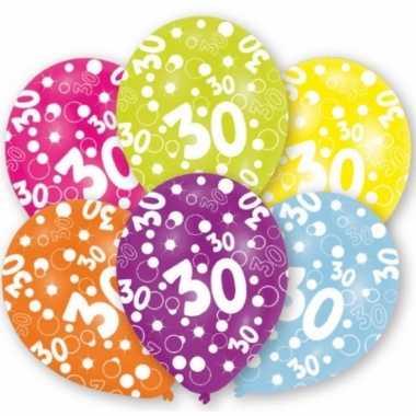 Feest ballonnen kleuren 30 jaar verjaardag 6 stuks