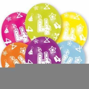 Feest ballonnen kleuren 4 jaar verjaardag 6 stuks