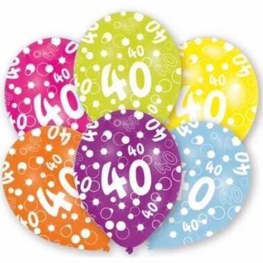 Feest ballonnen kleuren 40 jaar verjaardag 6 stuks