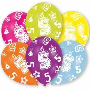 Feest ballonnen kleuren 5 jaar verjaardag 6 stuks