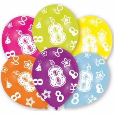Feest ballonnen kleuren 8 jaar verjaardag 6 stuks