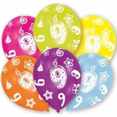 Feest ballonnen kleuren 9 jaar verjaardag 6 stuks