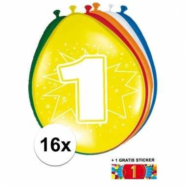 Feest ballonnen met 1 jaar print 16x + sticker