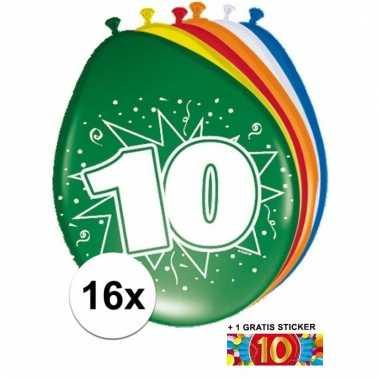 Feest ballonnen met 10 jaar print 16x + sticker