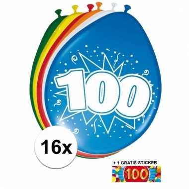 Feest ballonnen met 100 jaar print 16x + sticker