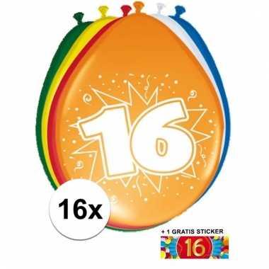 Feest ballonnen met 16 jaar print 16x + sticker