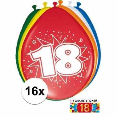 Feest ballonnen met 18 jaar print 16x + sticker