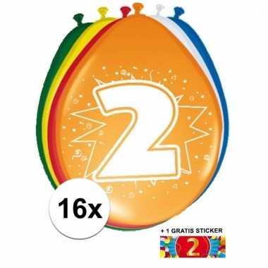 Feest ballonnen met 2 jaar print 16x + sticker