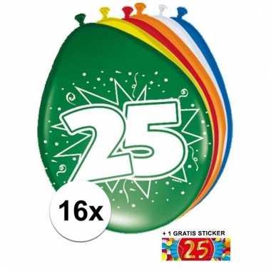 Feest ballonnen met 25 jaar print 16x + sticker