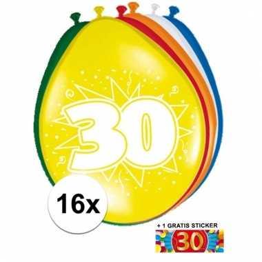 Feest ballonnen met 30 jaar print 16x + sticker