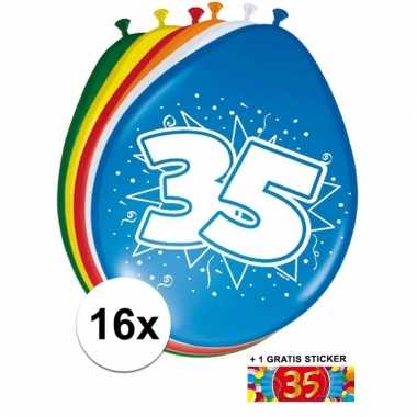 Feest ballonnen met 35 jaar print 16x + sticker