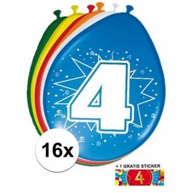Feest ballonnen met 4 jaar print 16x + sticker
