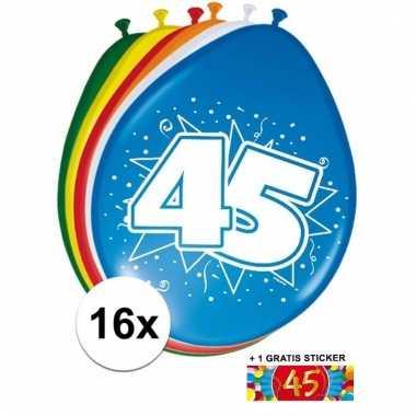 Feest ballonnen met 45 jaar print 16x + sticker
