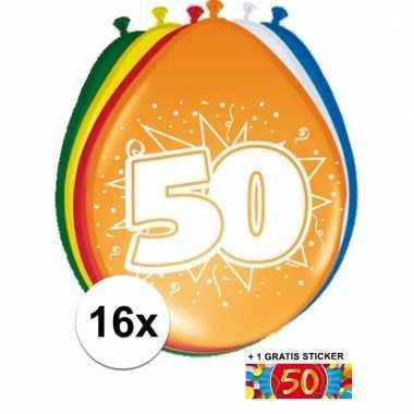 Feest ballonnen met 50 jaar print 16x + sticker