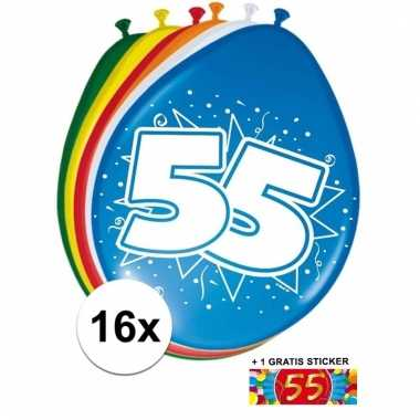 Feest ballonnen met 55 jaar print 16x + sticker