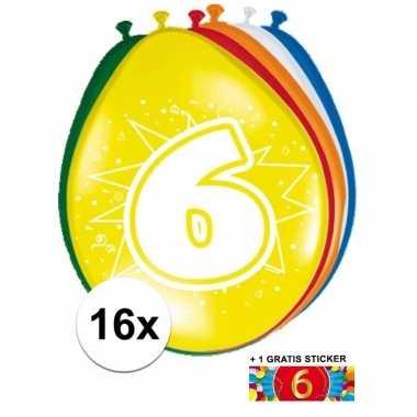 Feest ballonnen met 6 jaar print 16x + sticker