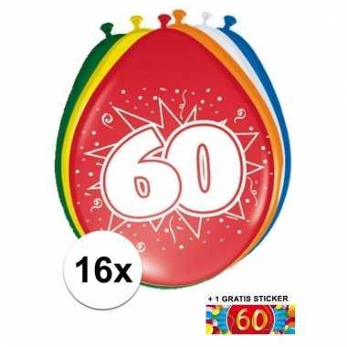 Feest ballonnen met 60 jaar print 16x + sticker