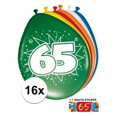 Feest ballonnen met 65 jaar print 16x + sticker